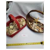 2 Woven Baskets Full Of Seashells