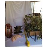 4 Decorative Pieces-Lantern, Wagon, Wall Hanging