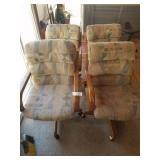 4 Rolling Chairs with Wood Trim