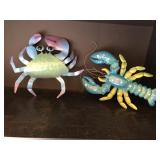 2pcs of metal art crab and lobster