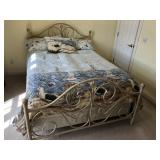 Full size metal white washed bed w/ bedding