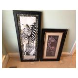 Pair of Zebra, & Giraffe prints in frame M. Fitzpa