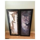 Pair of African prints, giraffe, & Lions