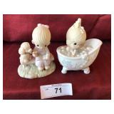 2pcs porcelain precious moments & Jon & david