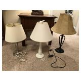set of 3 modern metal table lamps