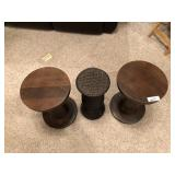 3pcs Pair of wood, and one woven plant stand