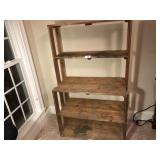 Wooden primitive pottery shelf