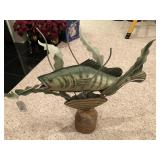 Large metal fish w/ wood base