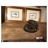 3pcs fish décor, pair of frames and fish