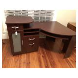 Cherry stained computer desk with glass
