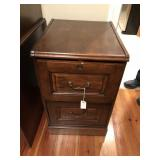 2 drawer walnut stained filing cabinet