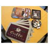 9pcs of café kitchen décor, placemats ++