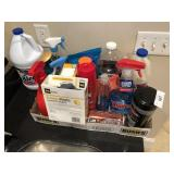 box full of cleaning supplies