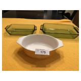 3pcs vintage pyrex & anchor hocking