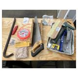 Large lot of misc tools, saw, supplies ++