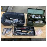 Pair of tool boxes full of tools