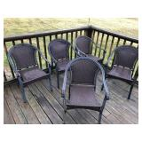 Set of 5 metal patio chairs