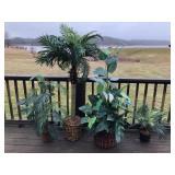 4 faux plants in pots