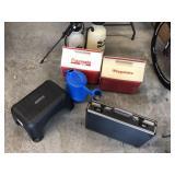 7pcs cooler, sprayers, briefcase ++