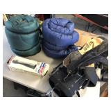 4pcs outdoor items 2x sleeping bags, boots, clubs