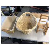 3pcs pair of baskets and doll rocking chair