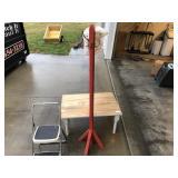 4pcs Hat rack, hat, primitive table, & step stool
