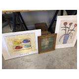 3pcs framed prints & vintage print
