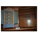 Vintage Painted Wooden Jewelry Box & Cupboard