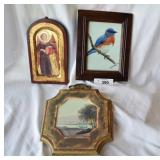 Three  vintage pieces of wall decore