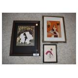 Three vintage framed art wall decore