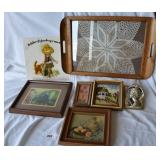 One vintage tray, Two pc. of vintage art