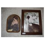 Two vintage framed art pieces