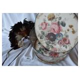 One vintage hat box, One vintage feather mask