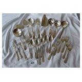 26 pc. mixed silver plate flatware.