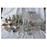 Large assortment of vintage holiday glassware