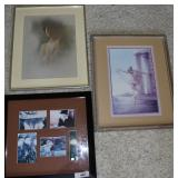 Three pc. Female framed art.