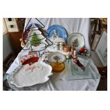 vintage holiday and glass entertaining items