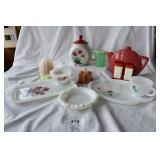 Vintage Milk glass snack ware and more.