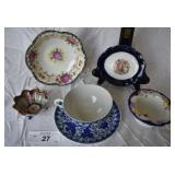 6 pcs. Vintage Decorative Hand-Painted Tableware