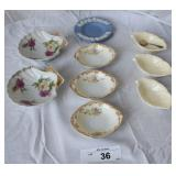 8 pcs. Porcelain Salt Cellars & Wedgwood Dish