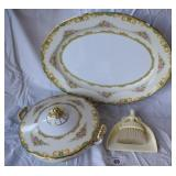 3 pcs. Misc Vintage Serving China & Crumb Catcher
