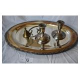 3 pcs. Silver Plate & 1 Brass Candle Snuffer