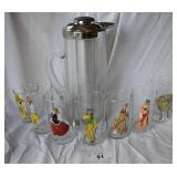 7 pcs. Vintage Pin-up Glasses w/ Pitcher