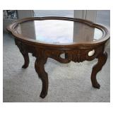 Glass-top Carved Walnut Oval Table