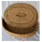 Hand-Woven Oblong Knitting Yarn Basket