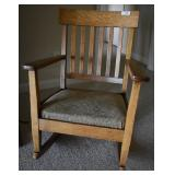 Antique Tiger Oak Mission-style Rocking Chair