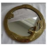 Vintage Art Nouveau Round Wall Mirror