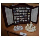 Mini Wall Display Cabinet & Vintage Tea set