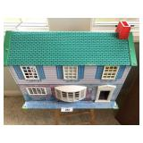 vintage tin two story dollhouse with furnature.