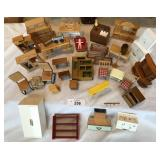 Large selection of vintage wood dollhouse furnitur